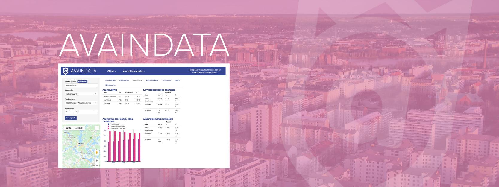 Avaindata-palvelun näkymä tyylitellyllä vaaleanpunaisella kaupunkitaustalla.